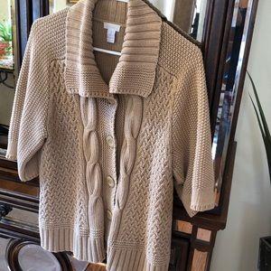 Short sleeved sweater, beige